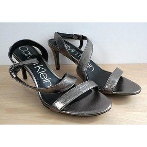 CALVIN KLEIN Silver Metallic Ankle Slingback Heels